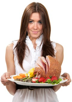 woman-ham-dish